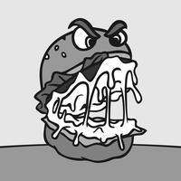 Caractère de Burger en colère Vecteur de Style Cartoon Inkblot