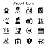 aéroport, aviation icon set vector illustration graphisme