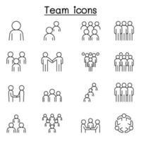travail d'équipe, équipe, icônes de personnes définies dans un style de ligne mince vecteur