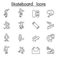 jeu d & # 39; icônes de planche à roulettes dans un style de ligne mince