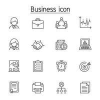 icône de gestion des affaires définie dans le style de ligne mince