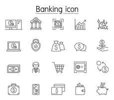 icône de banque en ligne définie dans un style de ligne mince vecteur
