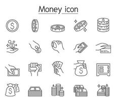 argent, argent comptant, pièce de monnaie, icône de la monnaie dans le style de ligne mince