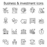 icône d & # 39; investissement dans un style de ligne mince