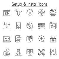 icône de configuration et d'installation dans un style de ligne fine vecteur