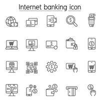 icônes bancaires Internet définies dans un style de ligne mince