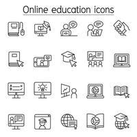 icônes d & # 39; éducation en ligne définies dans un style de ligne mince vecteur
