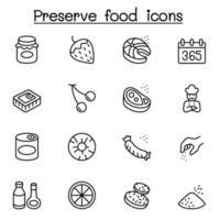 icônes de nourriture conservées définies dans un style de ligne mince vecteur
