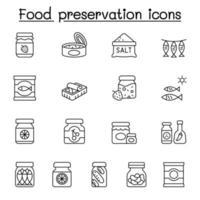 icônes de conservation des aliments définies dans un style de ligne mince vecteur