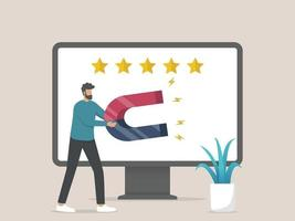 concept de stratégie marketing attraction client vecteur