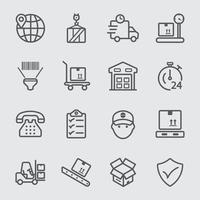 jeu d & # 39; icônes de ligne logistique vecteur