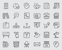 jeu d & # 39; icônes de ligne de bureau