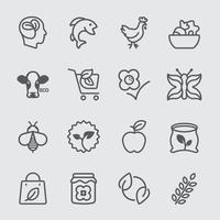 jeu d & # 39; icônes de ligne organique vecteur