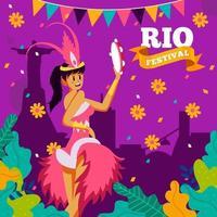 belle danseuse au concept tropical de carnaval de rio vecteur