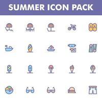pack d'icônes d'été sur fond blanc vecteur