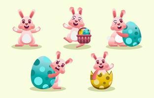 collection de personnages de lapin rose de pâques vecteur