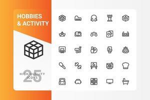 hobbies et pack d'icônes d'activité isolé sur fond blanc. pour la conception de votre site Web, logo, application, interface utilisateur. illustration graphique vectorielle et trait modifiable. eps 10. vecteur