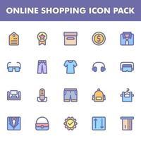 pack d'icônes de magasinage en ligne vecteur