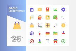 pack d'icônes d'interface utilisateur de base pour la conception de votre site Web, logo, application, interface utilisateur. conception plate d'icône de l'interface utilisateur de base. illustration graphique vectorielle et trait modifiable. eps 10. vecteur