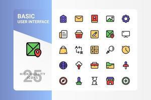 pack d'icônes d'interface utilisateur de base pour la conception de votre site Web, logo, application, interface utilisateur. conception de couleur linéaire de base de l'icône de l'interface utilisateur. illustration graphique vectorielle et trait modifiable. eps 10. vecteur