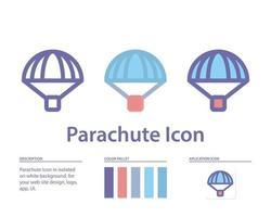 icône de parachute isolé sur fond blanc. pour la conception de votre site Web, logo, application, interface utilisateur. illustration graphique vectorielle et trait modifiable. eps 10. vecteur