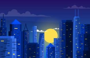 construction de bâtiments de la ville de nuit illustration daffaires vecteur