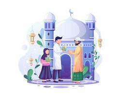 ramadan kareem zakat donnant la charité, une importante obligation islamique de donation et de charité vecteur