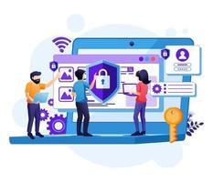concept de cybersécurité, accès des personnes et protection de la confidentialité des données vecteur