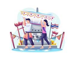 un couple porte un bol rempli d'eau pour célébrer le festival songkran. le jour de l'an traditionnel thaïlandais vecteur