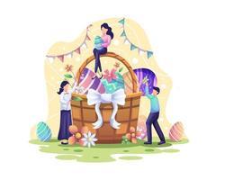 joyeuses fêtes de pâques avec les gens mettent des œufs et des fleurs dans le panier pour le jour de pâques vecteur