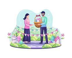 l'homme donne un panier plein d'oeufs de Pâques à une fille. un couple célèbre le jour de pâques vecteur