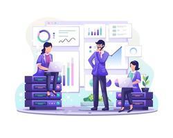 Le concept d'analyse de données avec des personnages à l'écran analyse les données stockées sur l'illustration du serveur vecteur