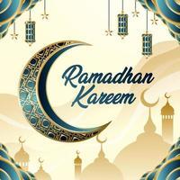 ramadan kareem avec concept lune et lanterne vecteur