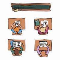 Salle de classe pleine d'élèves faisant leurs devoirs vecteur
