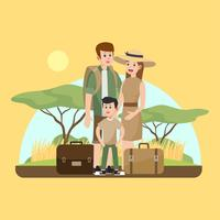 Vacances en famille au vecteur Africa Sabana