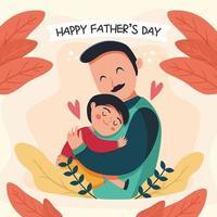 père embrasse ses enfants dans les moments de la fête des pères vecteur