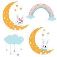 lièvres sur la lune avec un arc en ciel vecteur