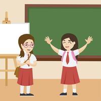 Enfants au vecteur de salle de classe