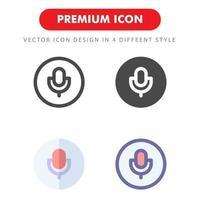 pack d'icônes de microphone isolé sur fond blanc. pour la conception de votre site Web, logo, application, interface utilisateur. illustration graphique vectorielle et trait modifiable. eps 10. vecteur