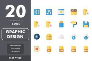 pack d'icônes de conception graphique vecteur