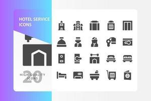 pack d'icônes de service hôtelier isolé sur fond blanc. pour la conception de votre site Web, logo, application, interface utilisateur. illustration graphique vectorielle et trait modifiable. eps 10. vecteur