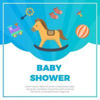 Éléments de douche bébé plat avec vecteur de fond fantaisie Illustration