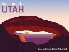 Affiche de VIntage du parc national de l'Utah vecteur