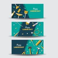 divers outils de travail bannières de la fête du travail