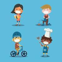 personnages d'enfants faisant leurs passe-temps pendant la pandémie vecteur