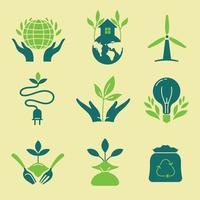 jeu d'icônes de technologie verte et de conservation vecteur