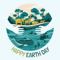 vie écologique pour le concept de jour de la terre heureux vecteur