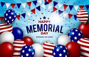 joyeux jour commémoratif avec ballon et drapeau vecteur