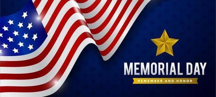 fond de jour commémoratif avec drapeau réaliste vecteur