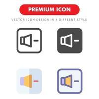 pack d'icônes volume vers le bas isolé sur fond blanc. pour la conception de votre site Web, logo, application, interface utilisateur. illustration graphique vectorielle et trait modifiable. eps 10. vecteur